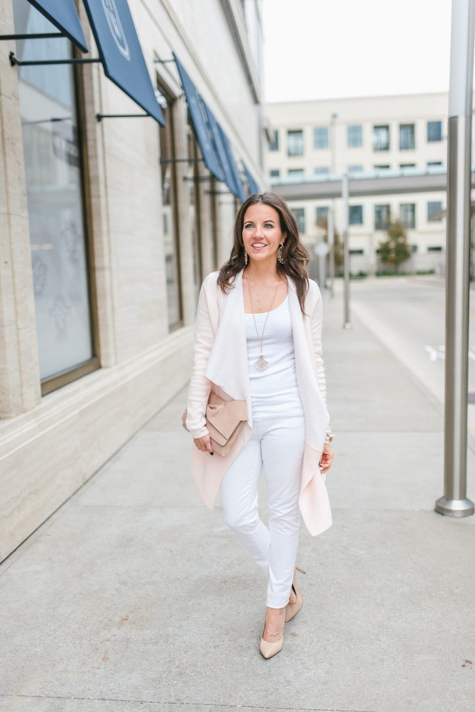 winter outfit | blush pink cardigan | white skinny jeans | Houston Fashion Blogger Lady in Violet