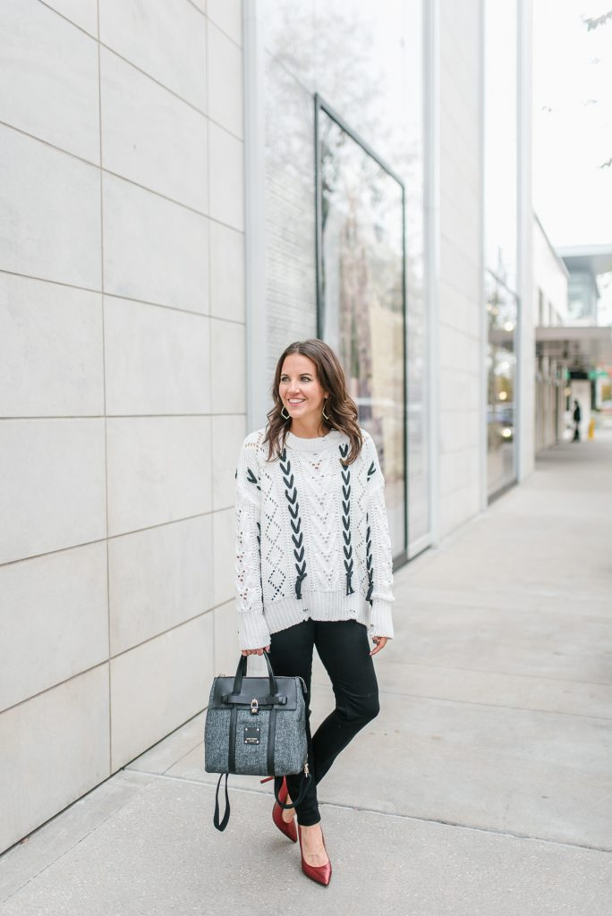 winter outfit | white open knit sweater | red metallic heels | Houston Fashion Blogger Lady in Violet