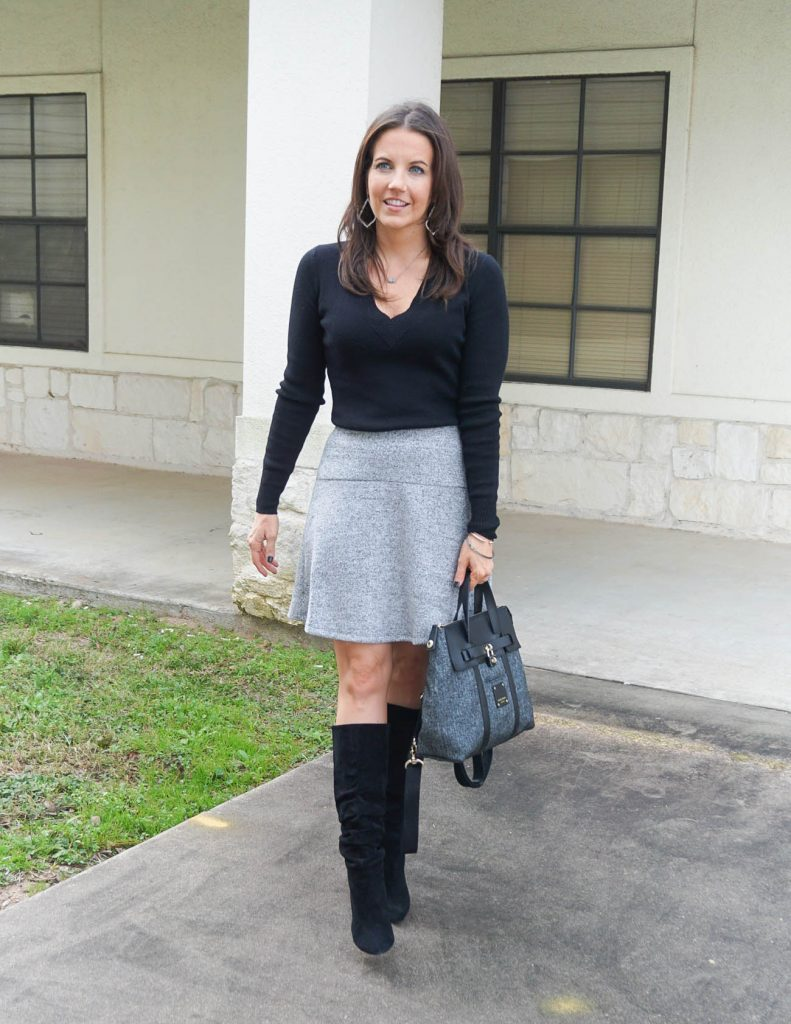 winter work outfit | black sweater | gray flare skirt | Houston Fashion Blogger Lady in Violet