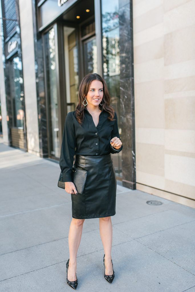 work outfit | black leather skirt | black button up blouse | Popular Houston Fashion Blogger Lady in Violet