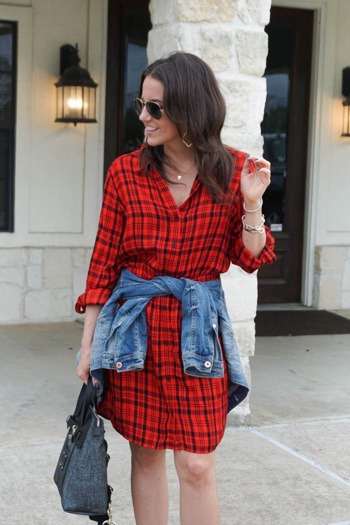 casual spring outfit | buffalo plaid dress | denim jacket | Popular Petite Fashion Blogger Lady in Violet