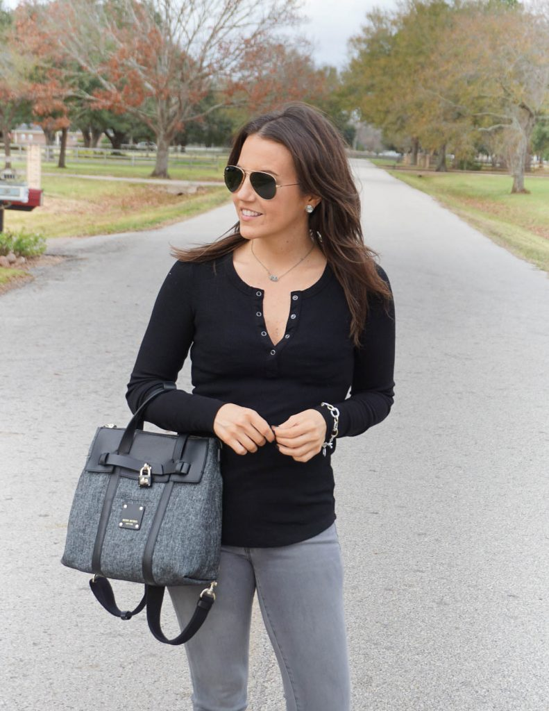 Casual winter basics | black thermal tee | backpack purse | Petite Fashion Blogger Lady in Violet