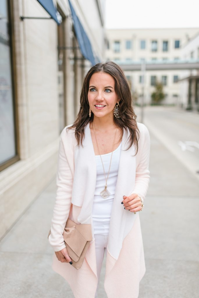 casual winter outfit | blush pink cardigan | rose gold statement earrings | Petite Fashion Blogger Lady in Violet