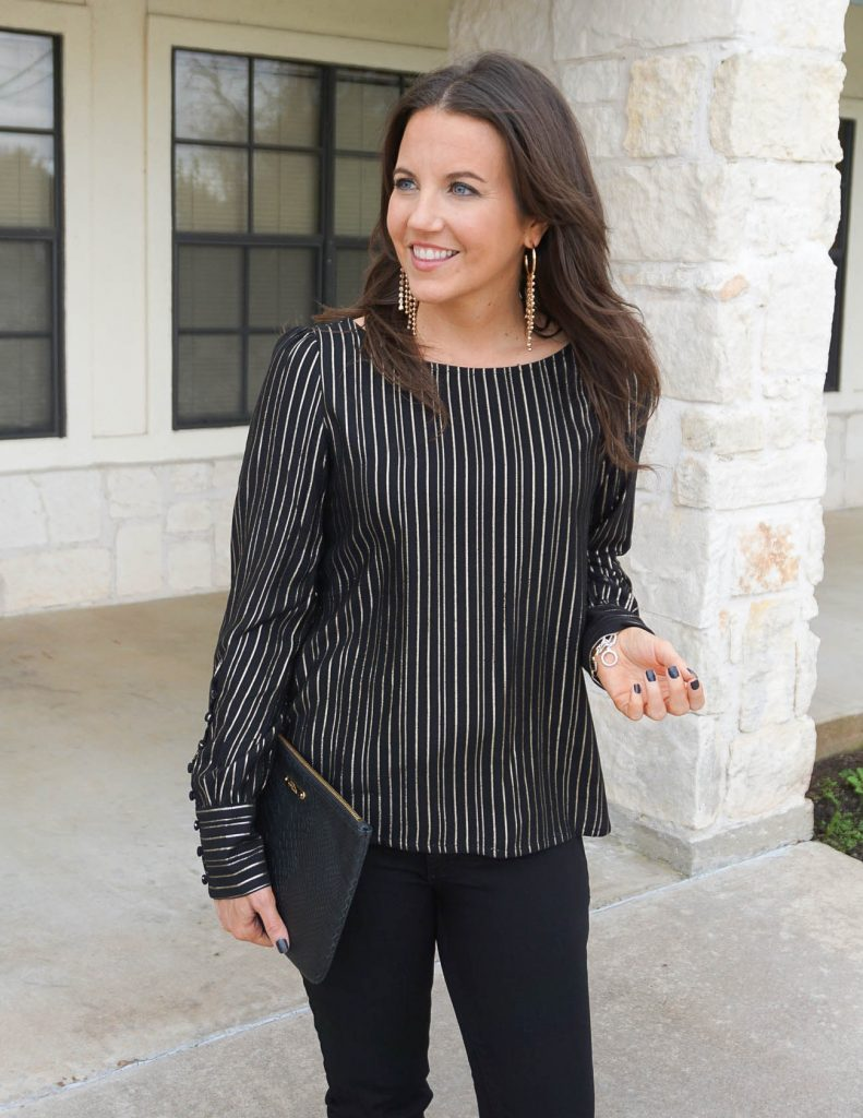 date night outfit | gold metallic striped top | statement earrings | Popular Houston Fashion Blogger Lady in Violet