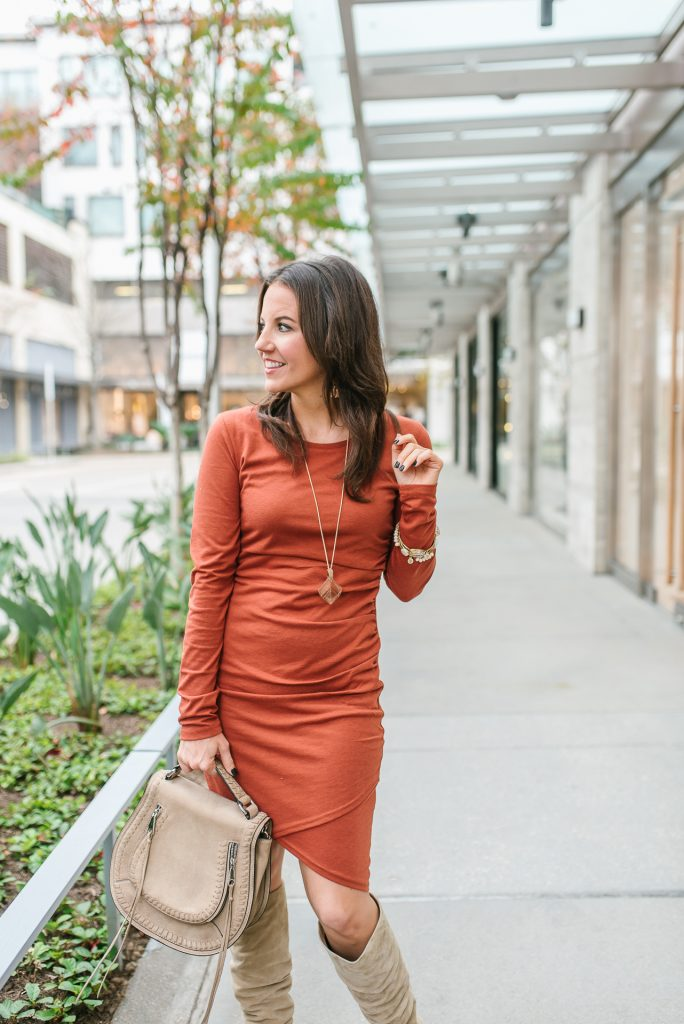 fall date night outfit | orange body con dress | saddle crossbody bag | Popular Houston Fashion Blogger Lady in Violet