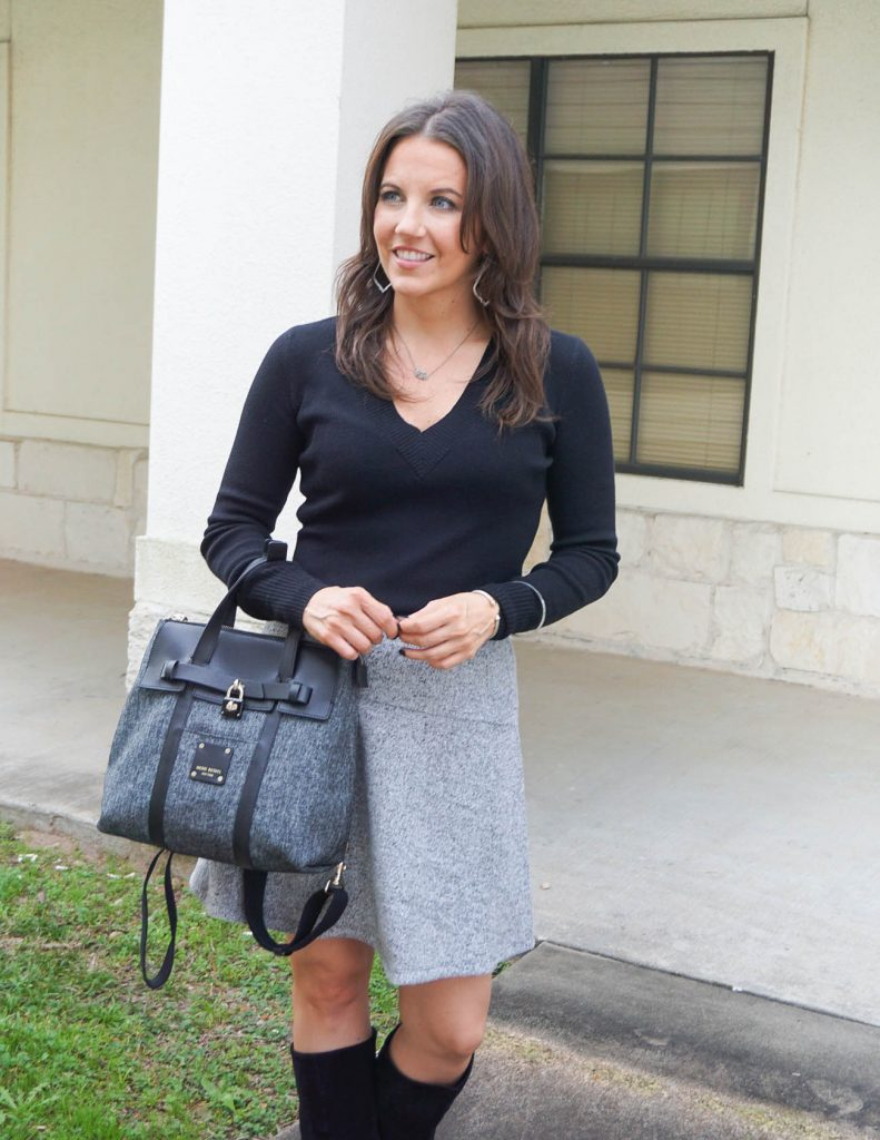 fall work outfit | black vneck sweater | gray flippy skirt | Popular Houston Fashion Blogger Lady in Violet