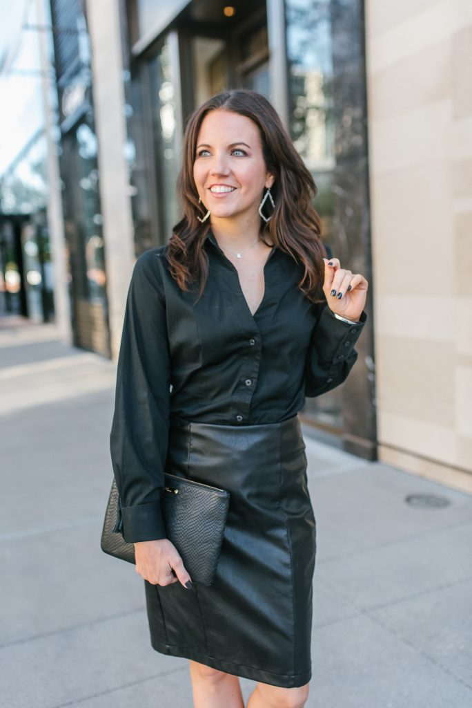 fall workwear | black button up blouse | faux leather pencil skirt | Popular Houston Fashion Blogger Karen Kocich