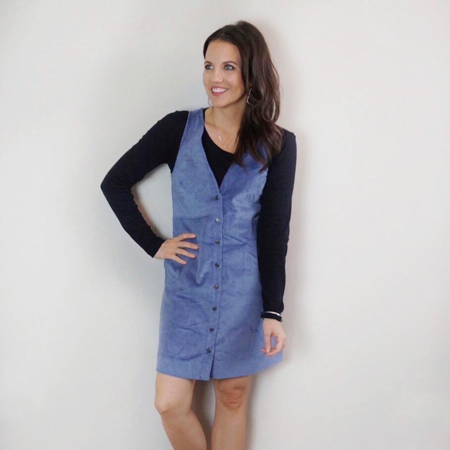 winter workwear | black long sleeve tee | purple corduroy jumper | Houston Fashion Blogger Lady in Violet