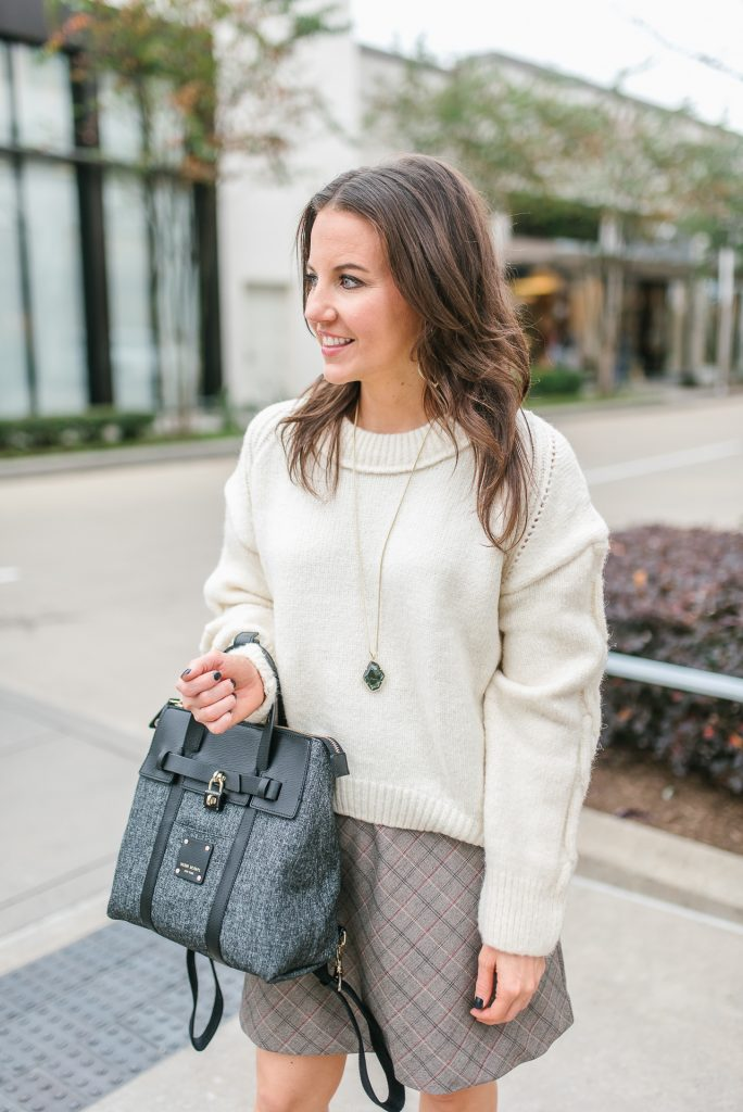 winter workwear | ivory sweater | black backpack purse | Petite Fashion Blogger Lady in Violet