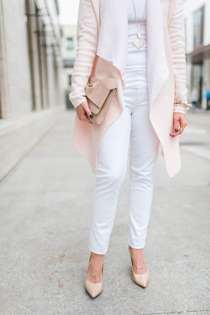 casual winter outfit | white skinny jeans | nude heels | Popular Petite Fashion Blogger Lady in Violet