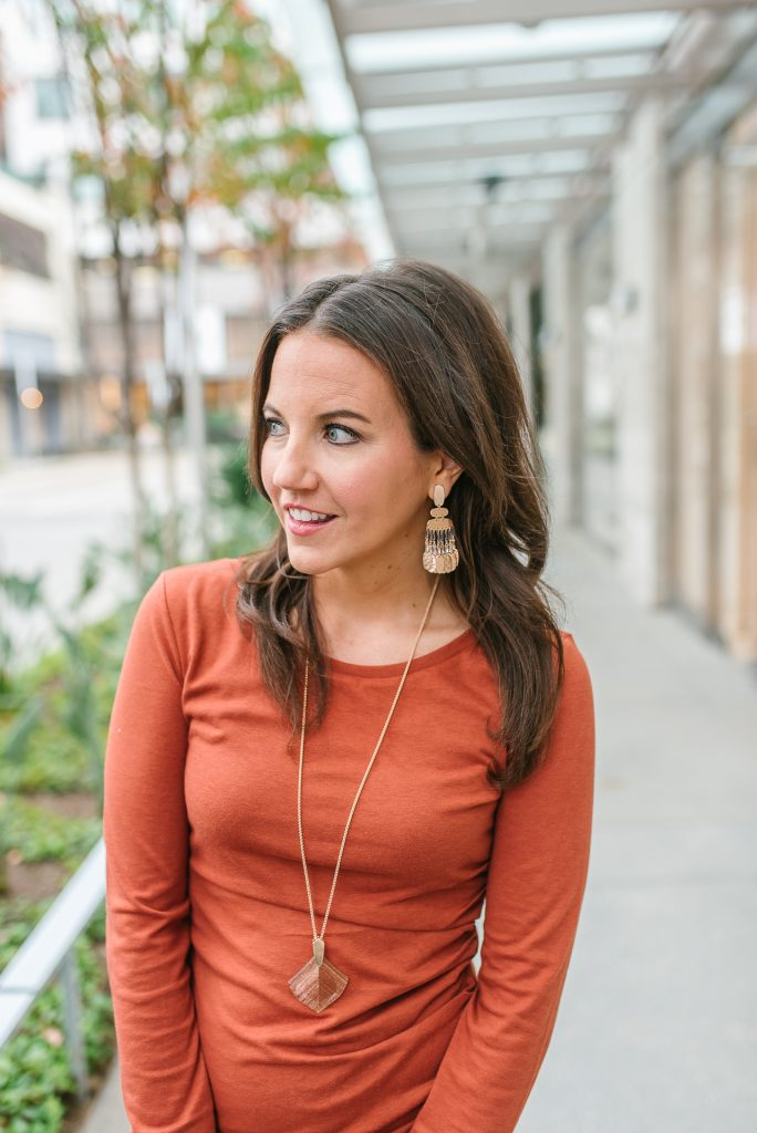 date night outfit | rose gold earrings | Houston Fashion Blogger Karen Kocich