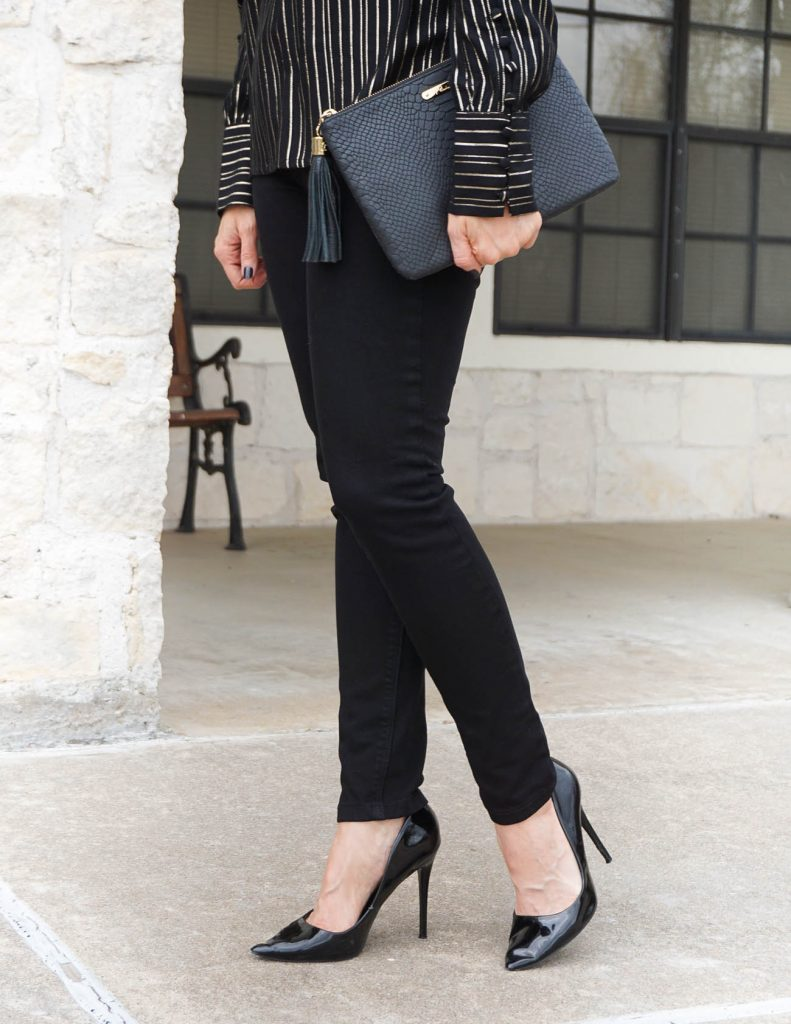 fall outfit   black skinny jeans   black heels   Petite Fashion Blogger Lady in Violet