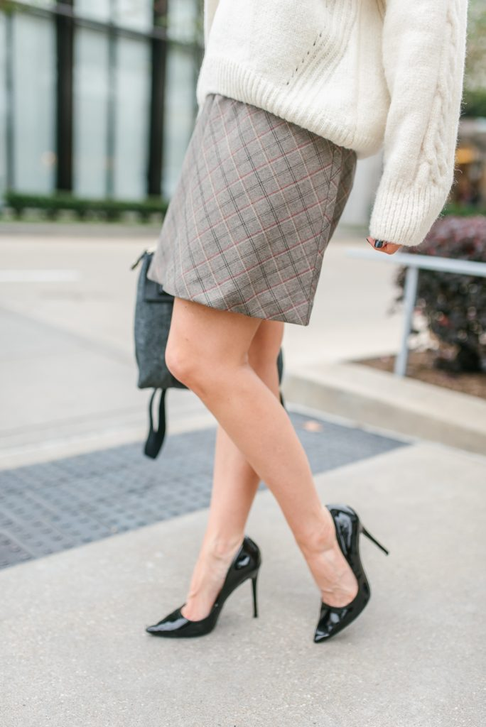 Fall outfit | plaid mini skirt | black patent heels | Popular Petite Fashion Blogger Lady in Violet