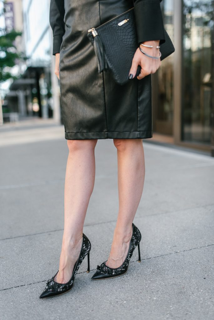 fall workwear | dior flore heels | black leather pencil skirt | Popular Petite Fashion Blogger Lady in Violet