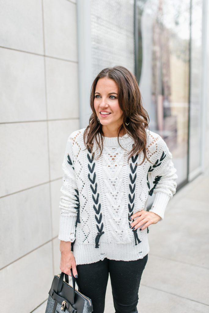 winter outfit | lace up over knit sweater | petite fashion blogger Karen Kocich