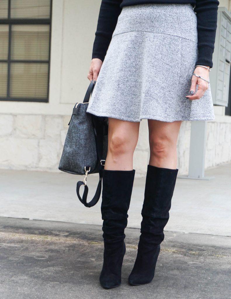 work outfit | gray skirt | black suede boots | Petite Fashion Blogger Lady in Violet