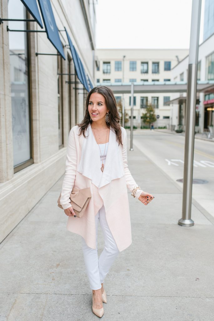 casual outfit | blush pink cardigan | white denim | Petite Fashion Blogger Lady in Violet
