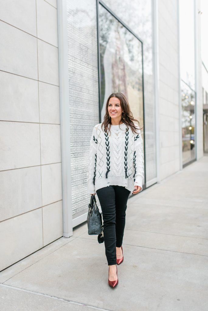 casual winter outfits | white open knit sweater | black skinny jeans | Popular Houston Fashion Blogger Karen Kocich