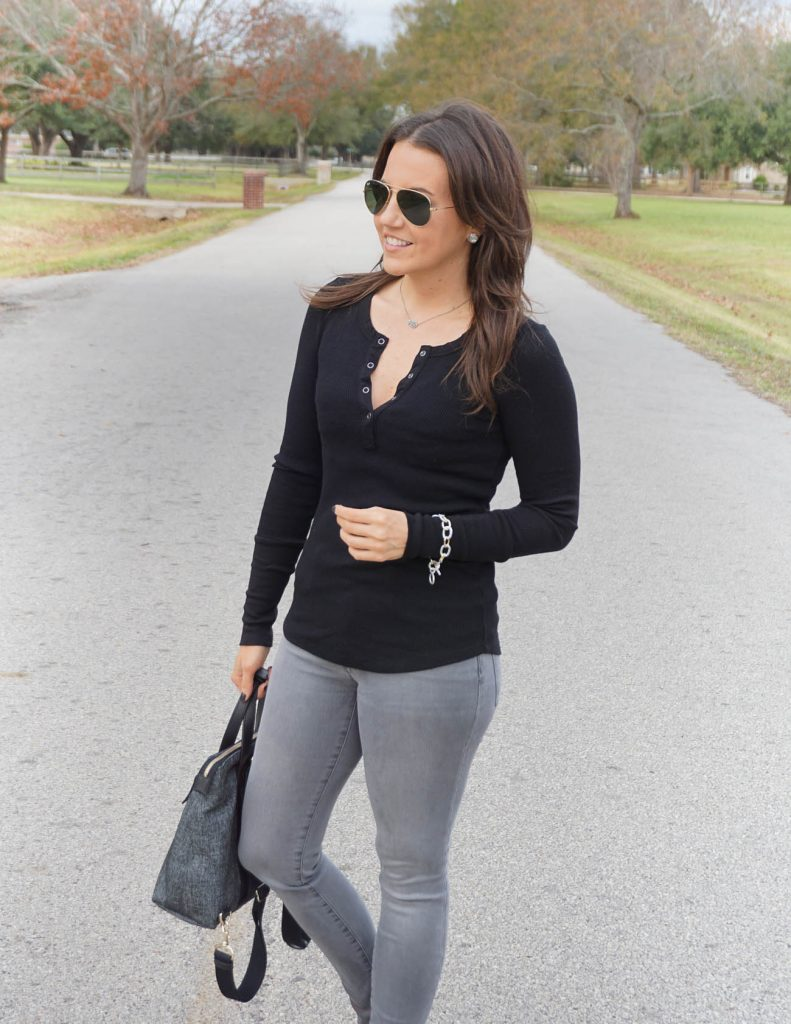 Fall outfit | black thermal top | gray jeans | Houston Fashion Blogger Lady in Violet