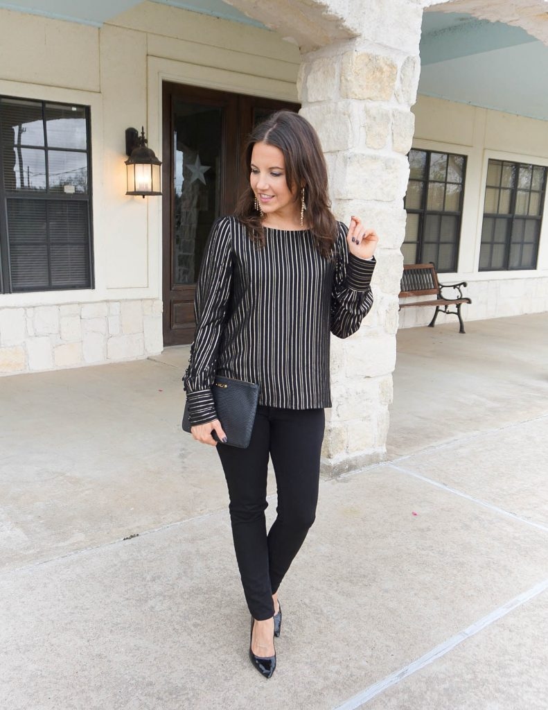 girls night out outfit   metallic top   black skinny jeans   Popular Petite Fashion Blogger Lady in Violet