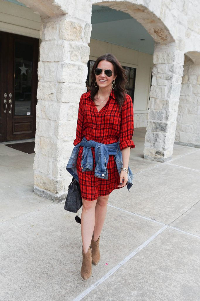 Texas rodeo outfit | red plaid dress | brown booties | Petite Fashion Blogger Lady in Violet
