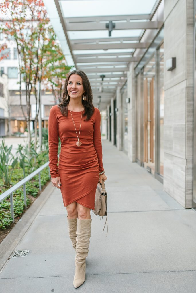 winter date night outfit | body con dress | taupe suede boots | Petite Fashion Blogger Lady in Violet