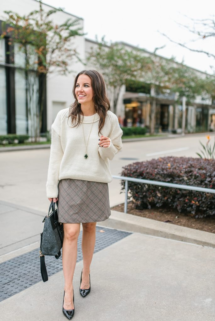 winter outfit | cream oversized sweater | plaid skirt | Popular Houston Fashion Blogger Lady in Violet