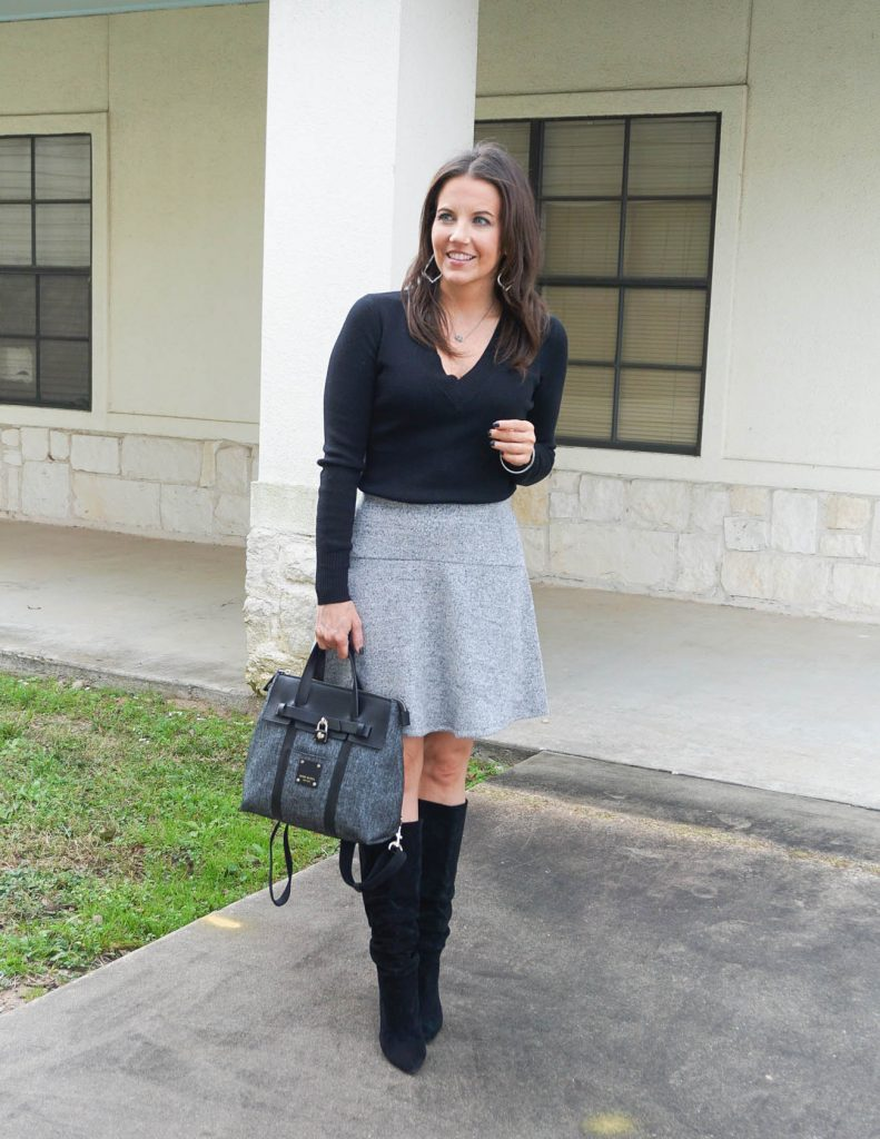 Winter work outfit   gray skirt   black fitted sweater   Popular Petite Fashion Blogger Lady in Violet
