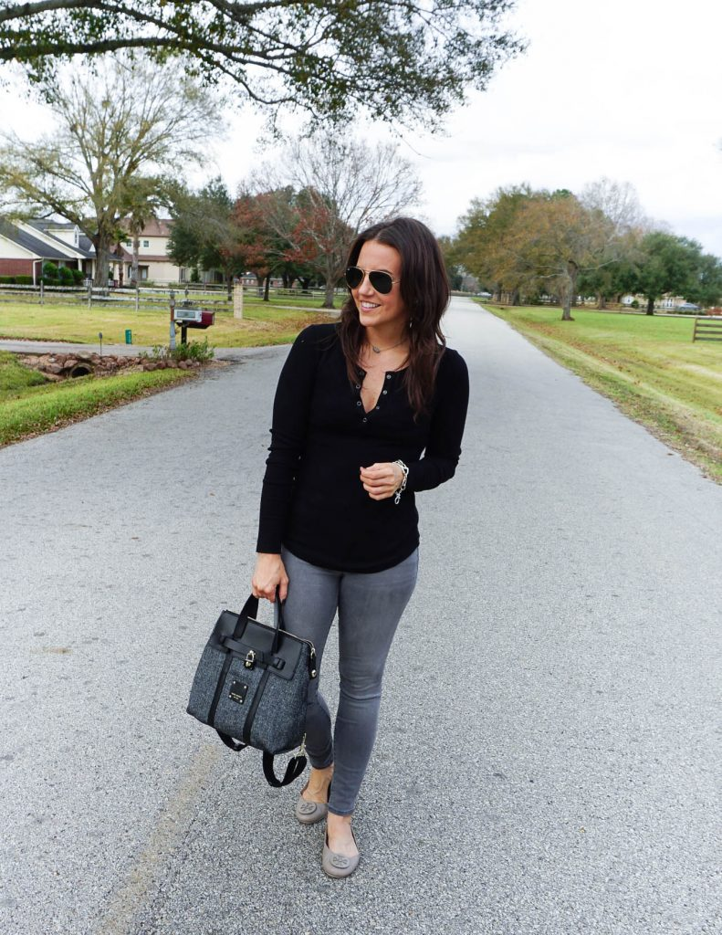 casual fall outfit | black thermal tee | gray jeans | Petite Fashion Blogger Lady in Violet
