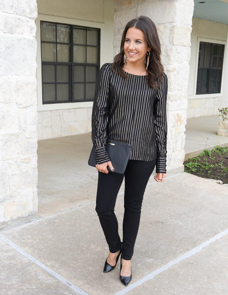 Galentine's day outfit | gold metallic top | black denim | Houston Fashion Blogger Lady in Violet