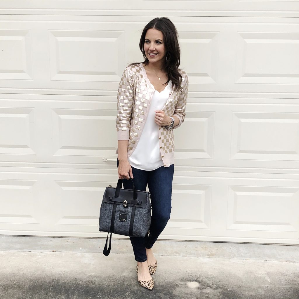holiday party outfit | sequin cardigan | leopard flats | Petite Fashion Blogger Lady in Violet