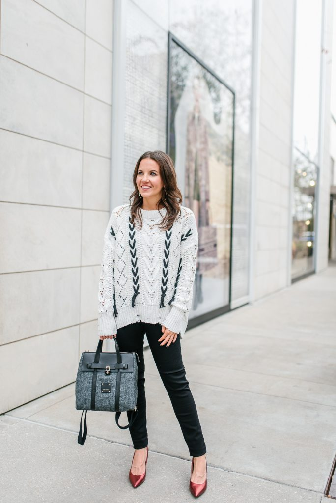 winter outfit | cozy white sweater | black jeans | Houston Fashion Blogger Lady in Violet