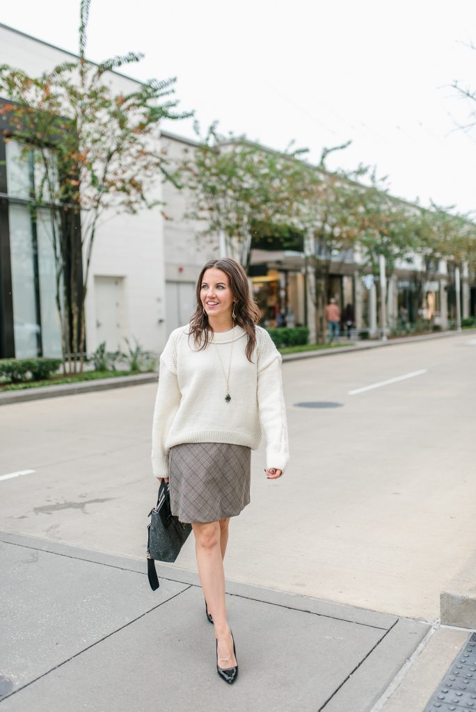 winter outfit | ivory oversized sweater | plaid skirt | Houston Fashion Blogger Lady in Violet