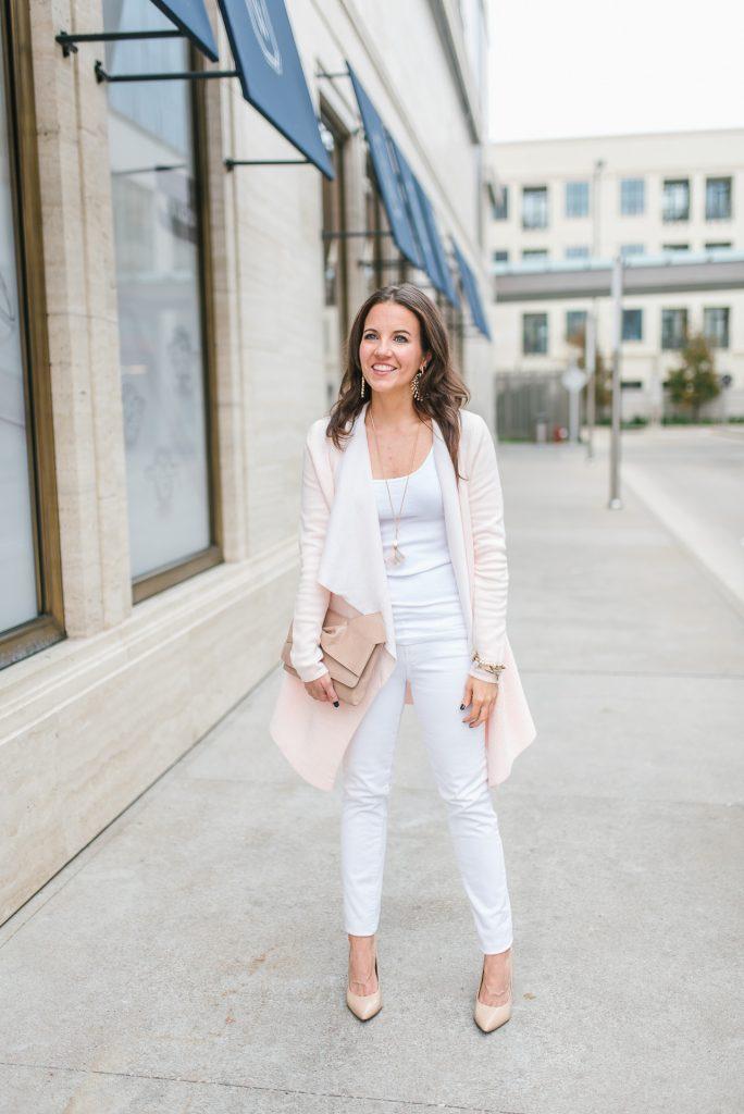 Winter outfits | blush pink cardigan | white jeans | Houston Fashion Blogger Karen Kocich