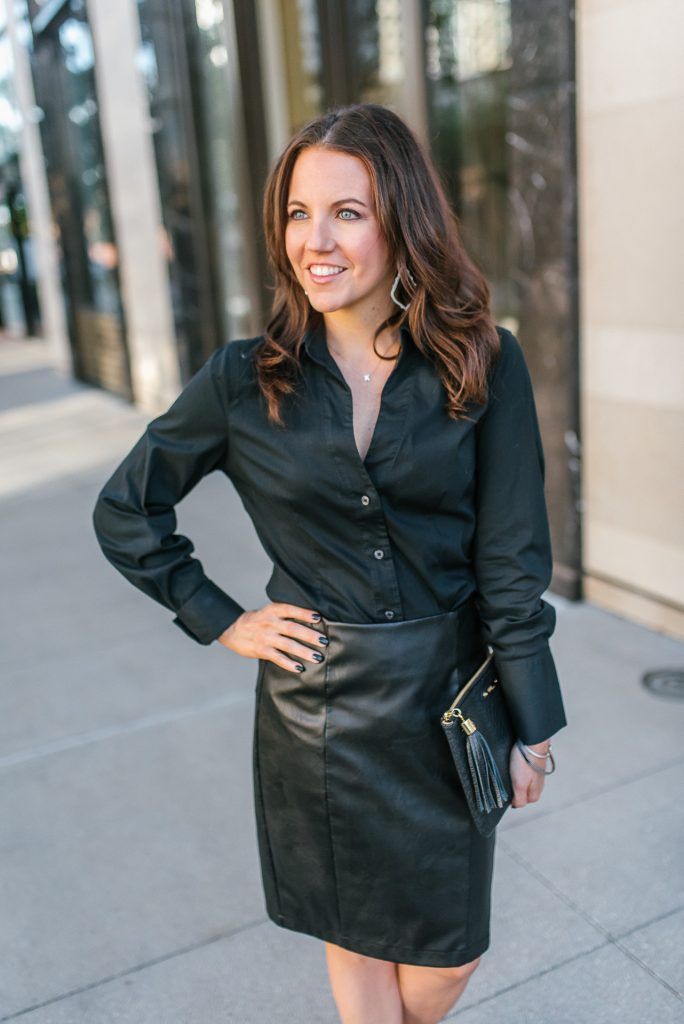 winter workwear | black button up blouse | faux leather skirt | Top Houston Fashion Blogger Karen Kocich