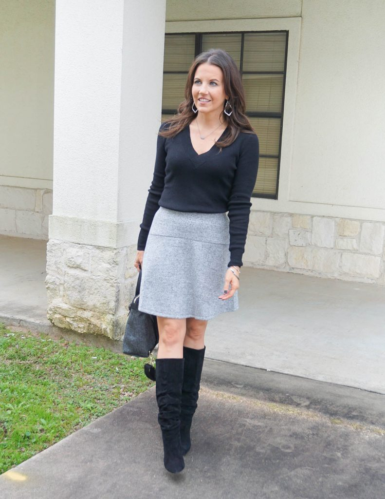 work outfit | black sweater | gray flared skirt | Houston Fashion Blogger Lady in Violet