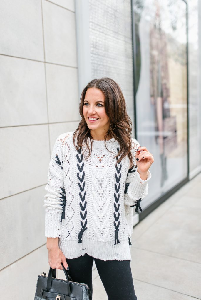 casual winter outfit | white open knit sweater | Houston Fashion Blogger Karen Kocich founder of Lady in Violet