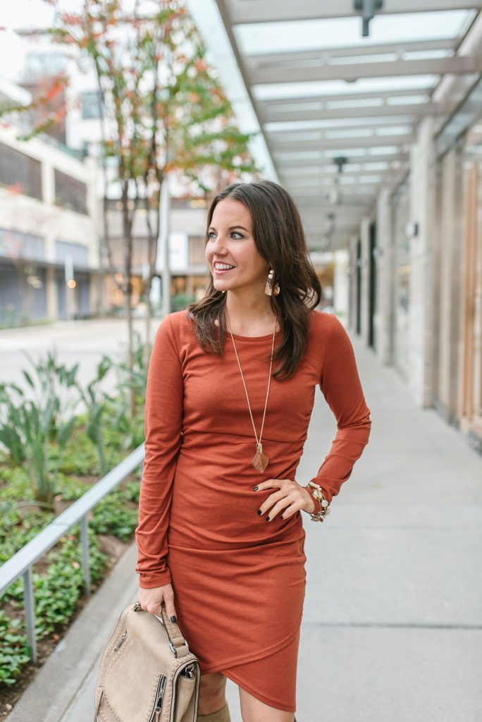 fall outfit | burnt orange fitted dress | rose gold necklace | Houston Fashion Blogger Lady in Violet