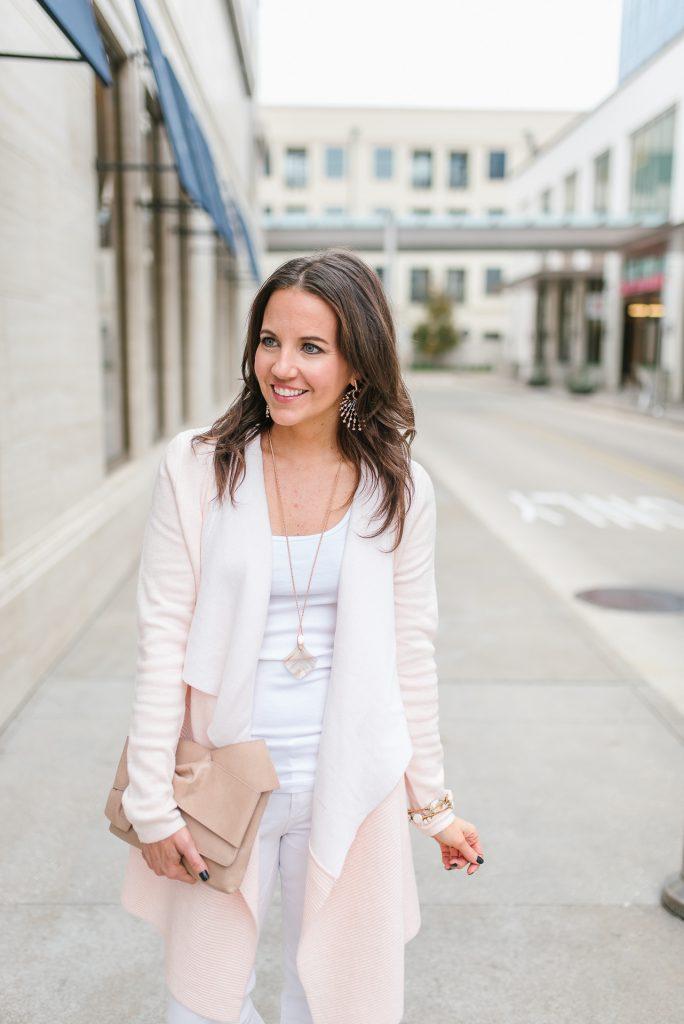 winter fashion | blush pink cardigan | rose gold jewelry | Petite Fashion Blogger Lady in Violet