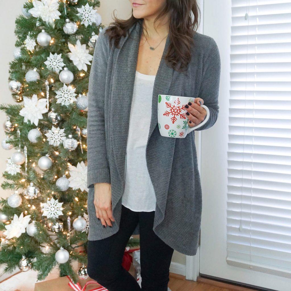 winter loungewear | barefoot dreams cardigan | black leggings | Houston Fashion Blogger Lady in Violet