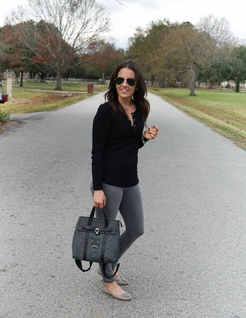 winter outfit | black long sleeve tee | gray denim | Houston Fashion Blogger Lady in Violet