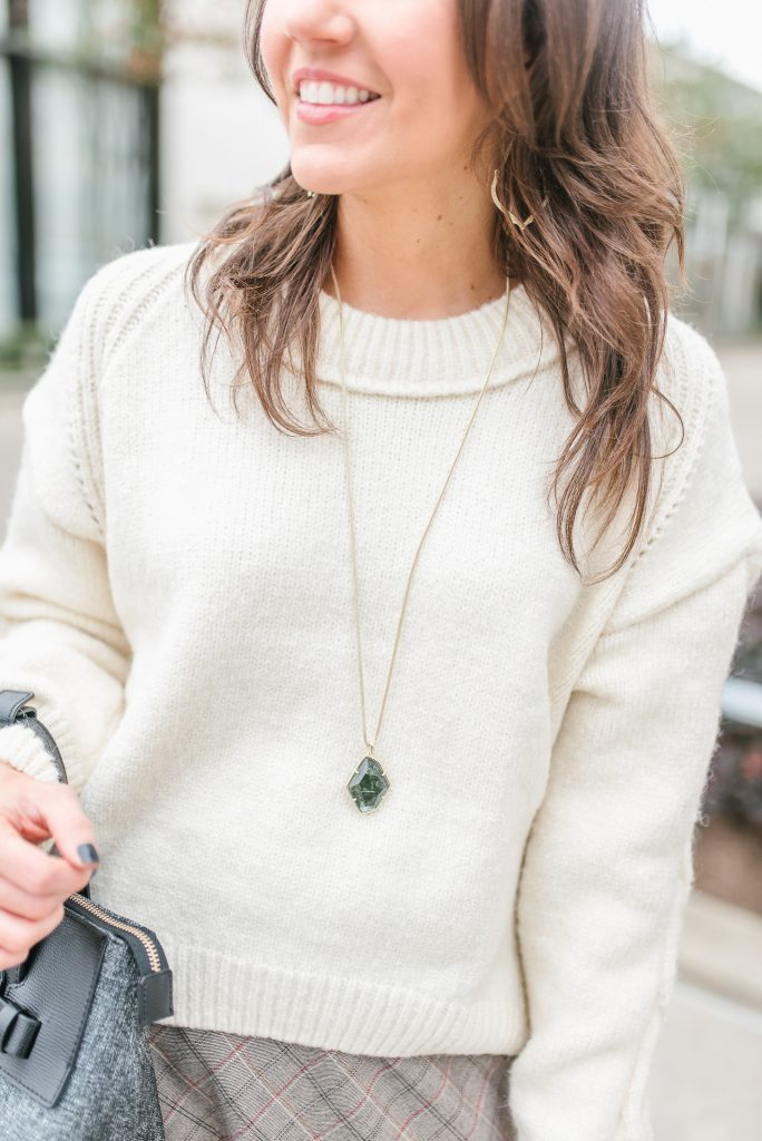 winter outfit | ivory chunk sweater | green stone necklace | Houston Fashion Blogger Lady in Violet