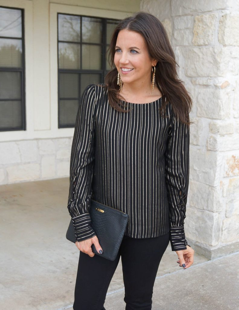 winter outfit | metallic striped top | gold statement earrings | Houston Fashion Blogger Lady in Violet