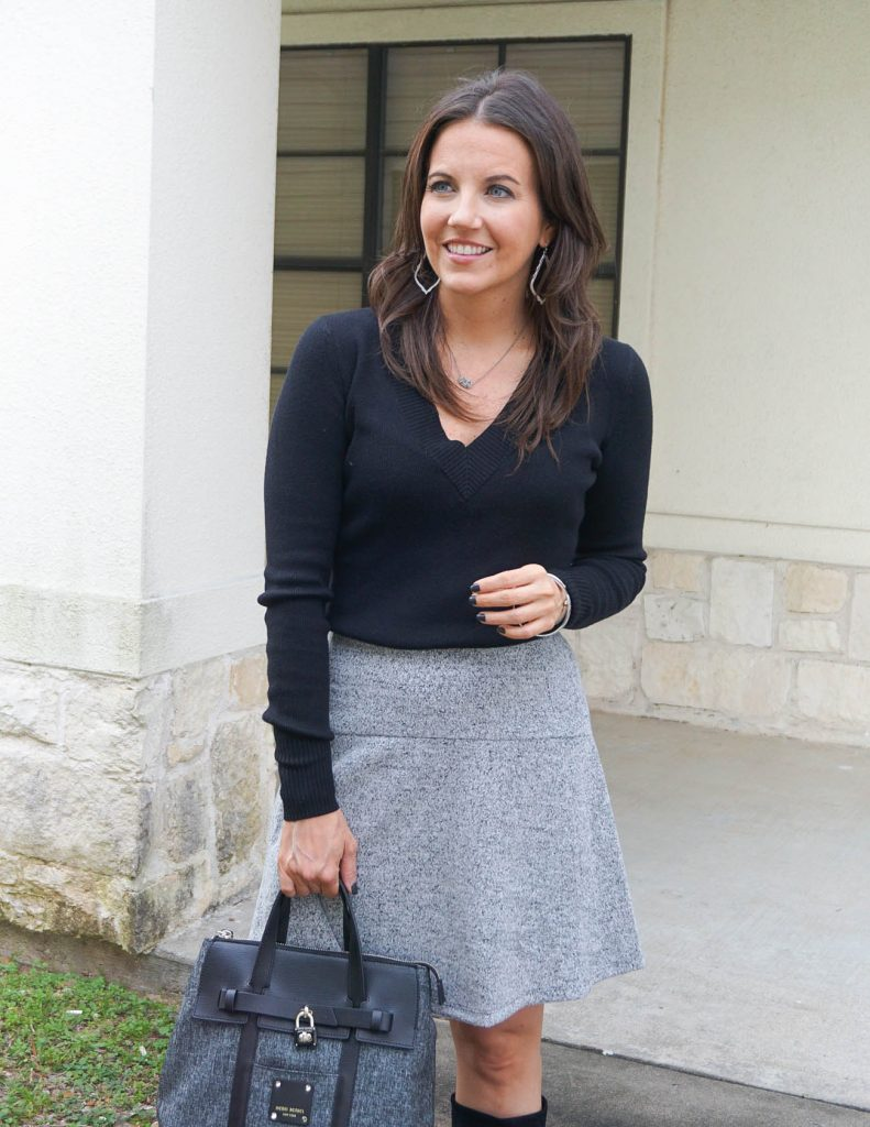 work outfit | black sweater | gray skirt | Houston Fashion Blogger Lady in Violet