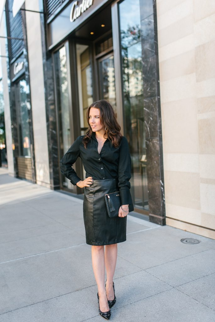 workwear | leather pencil skirt | dior heels | Top Houston Fashion Blogger Lady in Violet