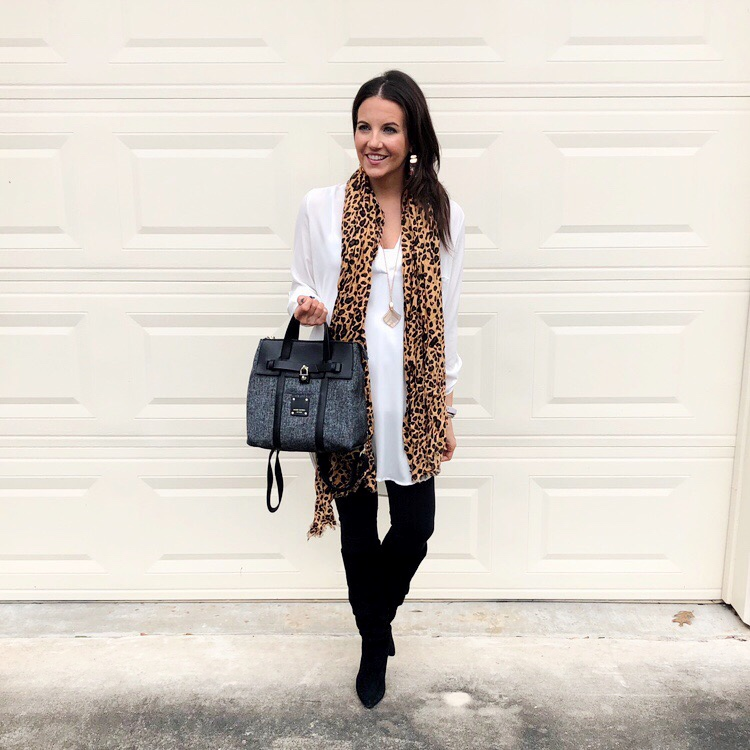 fall outfit | leopard scarf | long white tunic top | Petite Fashion Blogger Lady in Violet