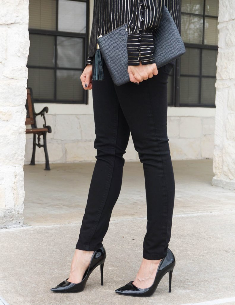 fall outfit | black skinny jeans | patent heels | Houston Fashion Blogger Lady in Violet