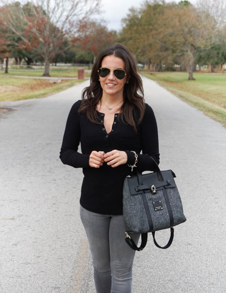 Fall outfit | black thermal top | short silver necklace | Petite Fashion Blogger Lady in Violet