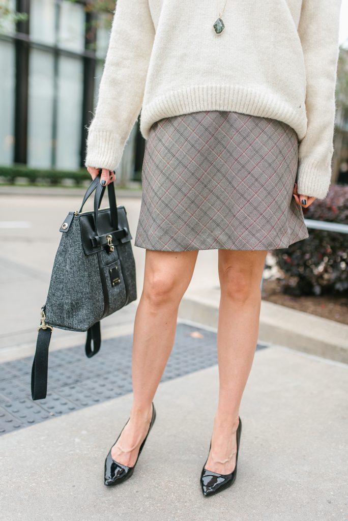 fall outfit | plaid skirt | black heels | Houston Fashion Blogger Lady in Violet