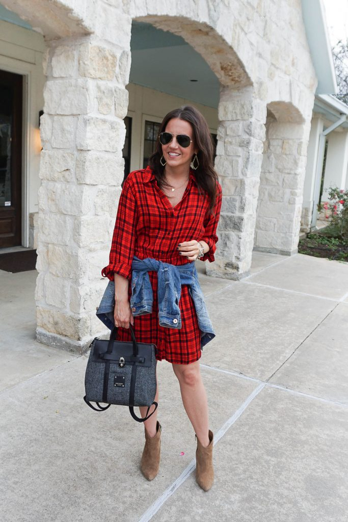 houston rodeo outfits | red plaid dress | brown booties | Petite Fashion Blogger Lady in Violet